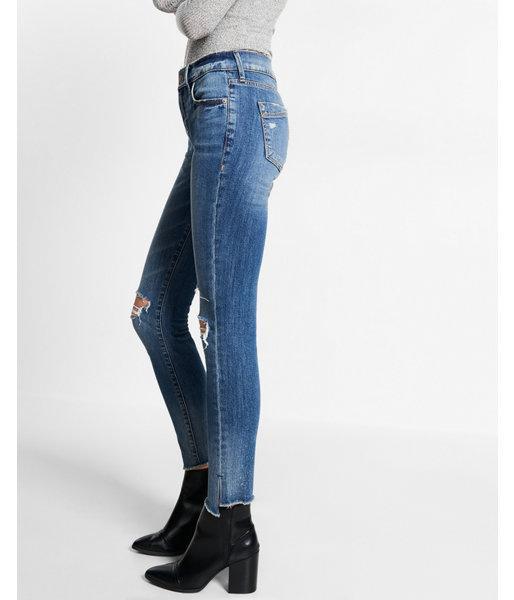 Express Mid Rise Split Hem Original Ankle Jean