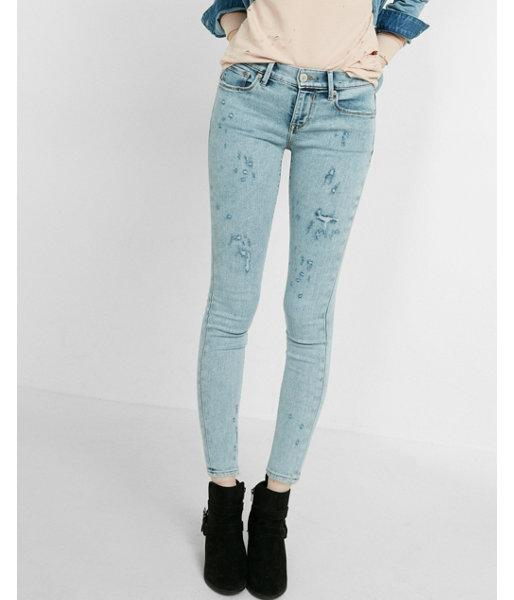 Express Womens Mid Rise Distressed Ankle Jean