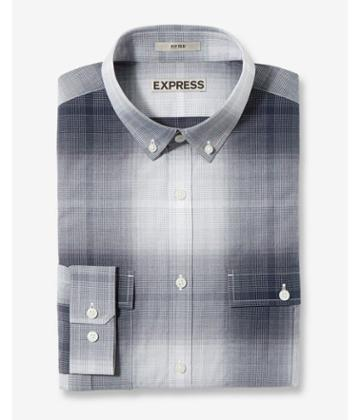 Express Fitted Plaid Button Collar Cotton Dress