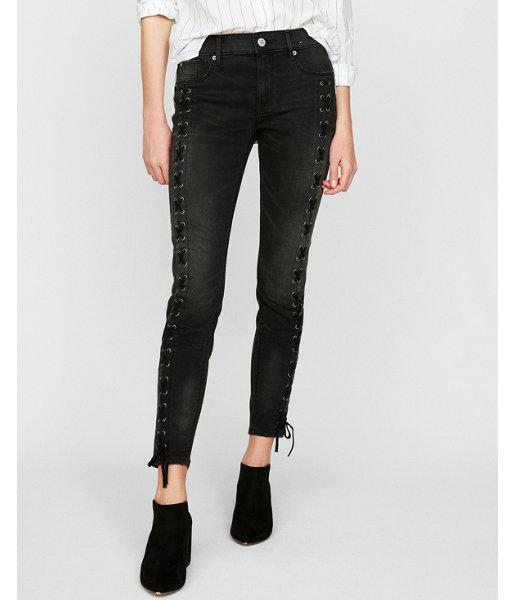 Express Womens Black Mid Rise Lace-up Stretch Ankle Jean