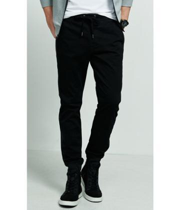 Express Men's Pants Jogger Black Ribbed Stripe Drawstring Pant