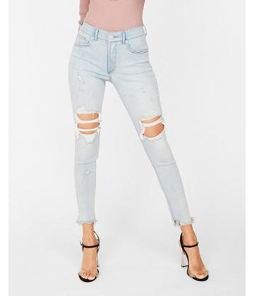 Express Womens Express Womens High Waisted Light Wash Destroyed Denim Perfect Stretch+ Ankle