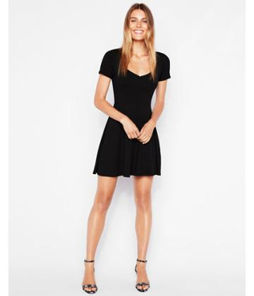 Express Womens Ribbed Sweetheart Fit And Flare Dress