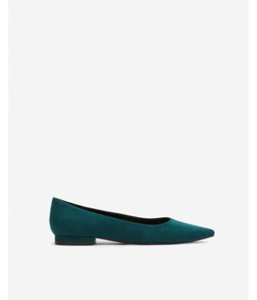 Express Womens Faux Suede Pointed Toe Flats