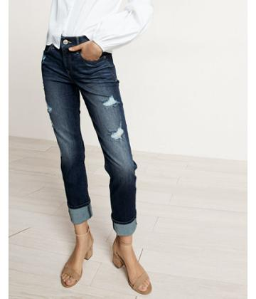 Express Mid Rise Distressed Cuffed Stretch+ Performance Cropped