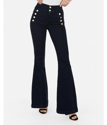 Express Womens Express Womens Super High Waisted Denim Perfect Button Front Bell Flare Jeans