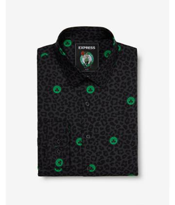 Express Mens Slim Boston Celtics Nba Printed Stretch Dress