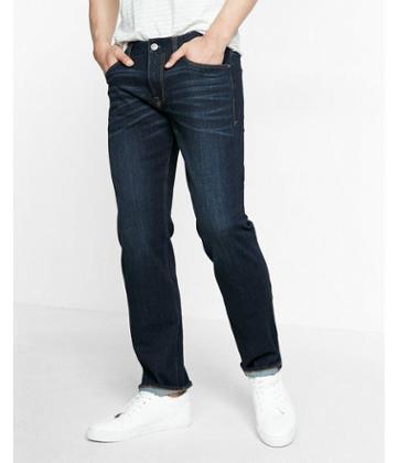 Express Classic Fit Straight Leg Performance Stretch Dark Wash Jeans