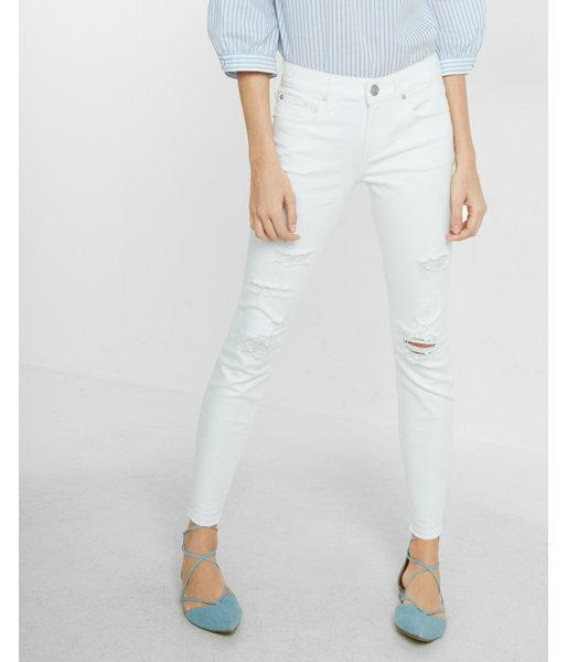 Express Petite Mid Rise Distressed Cropped Jean