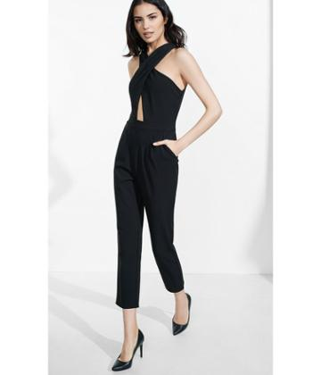 Express Women's Rompers & Jumpsuits Black Crisscross Front Jumpsuit