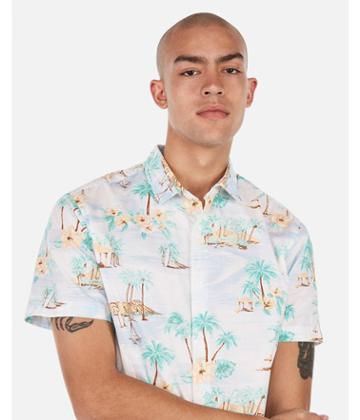 Express Mens Slim Hawaiian Print Soft Wash Short
