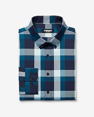 Express Mens Express Mens Extra Slim Plaid Button-down Wrinkle-resistant Performance Dress