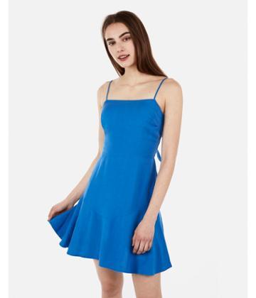 Express Womens Tie Back Ruffle Hem Linen-blend Dress