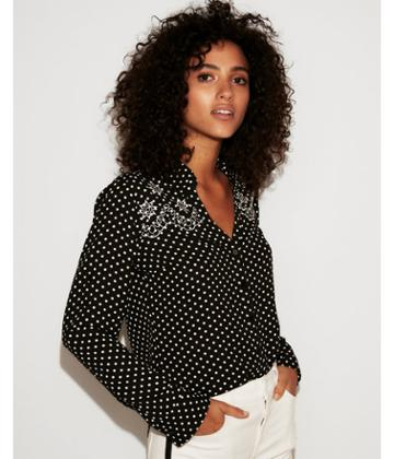 Express Womens Slim Fit Embroidered Polka Dot Portofino