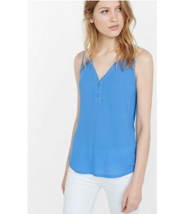 Express Women's Tanks Mixed Fabric Lace-up Front Tank