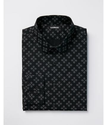 Express Mens Extra Slim Print Point Collar Dress