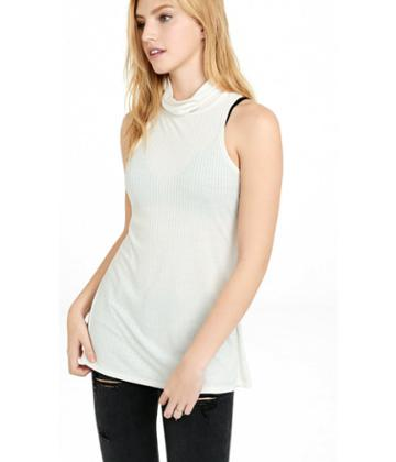 Express Women's Tanks Express One Eleven Ribbed Turtle Neck Tank