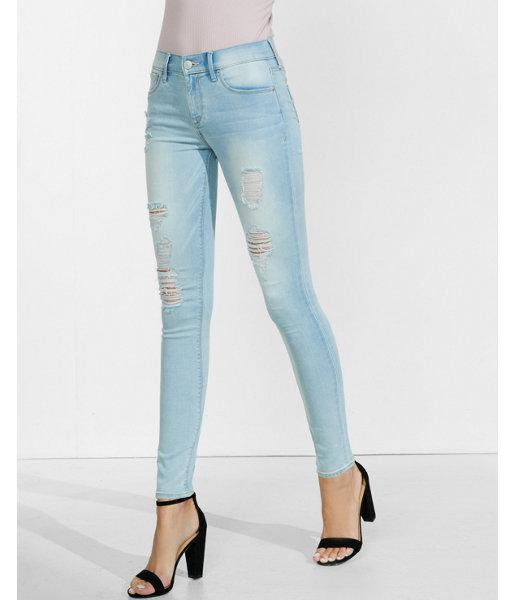 Express Womens Faded Distressed Mid Rise Jean
