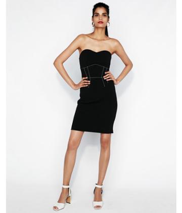 Express Womens Contrast Stitch Strapless  Dress
