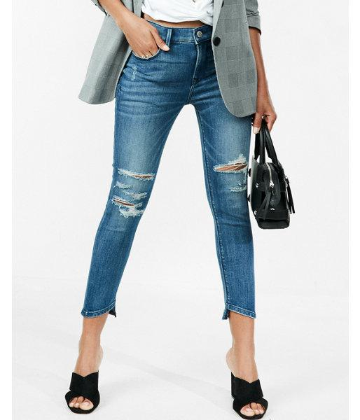 Express Mid Rise Cropped Distressed Stretch Jean