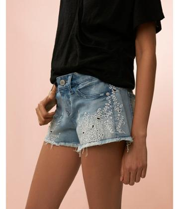 Express Womens Low Rise Embroidered Denim Cutoff