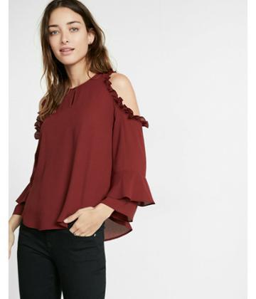 Express Womens Petite Ruffle Cold Shoulder Blouse