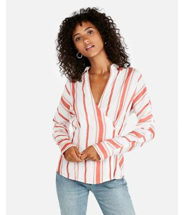 Express Womens Striped Side Button Blouse