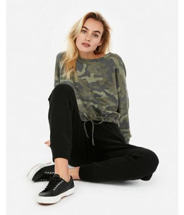 Express Womens Express One Eleven Camo Cropped