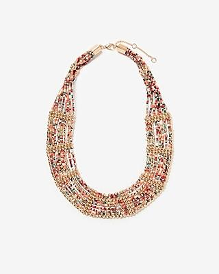Express Womens Layered Seed Bead Bib Necklace