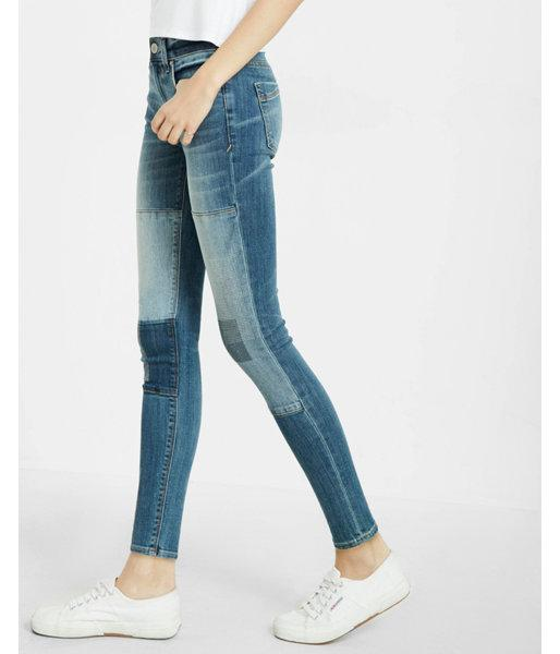 Express Womens Mid Rise Patch Ankle Jean