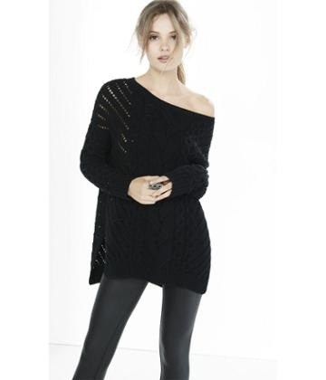 Express Express Womens Oversized Open Cable Knit Tunic