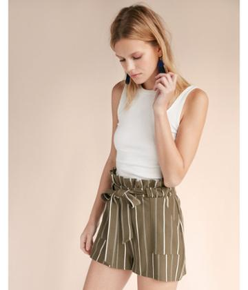 Express Womens High Waisted Tie Front Cargo