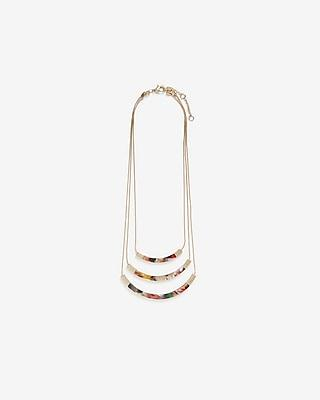 Express Womens Three Row Resin Layered Necklace