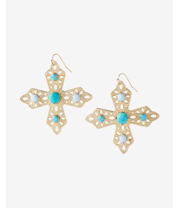 Express Turquoise Filigree Cross Drop Earrings