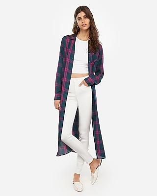 Express Womens Plaid Print Duster