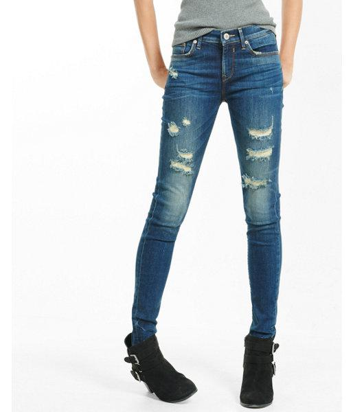 Express Womens Mid Rise Distressed Jean
