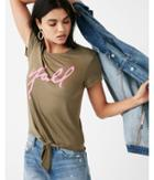 Express Womens Express One Eleven Knotted Easy Crew Neck Tee