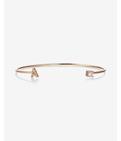 Express Womens Gold Open A Initial Cuff Bracelet