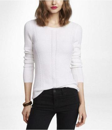 Womens Bateau Neck Cable Knit Sweater White X Small