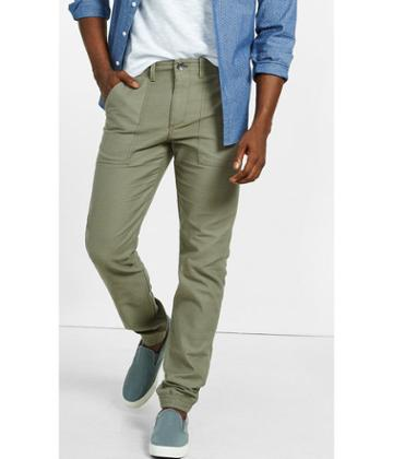 Express Men's Pants Jogger Green Khaki Textured Cotton Pant