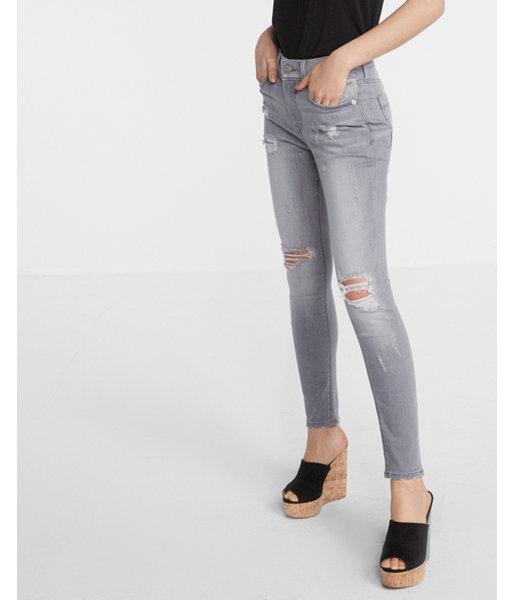 Express Mid Rise Gray Distressed Ankle Jean