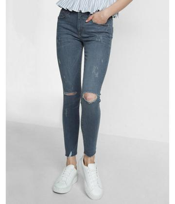 Express Mid Rise Distressed Ankle Jean