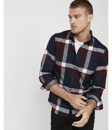 Express Mens Slim Plaid Stretch Flannel