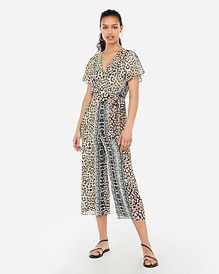 Express Womens Express Womens Animal Print Surplice Flutter Sleeve Tie Waist Jumpsuit