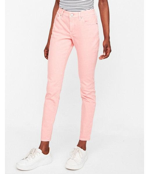 Express Womens Mid Rise Pink Stretch Jean
