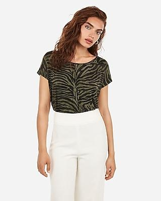 Express Womens Express One Eleven Zebra Off The Shoulder Dolman Tee