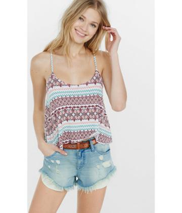 Express Women's Tops Geo Print Crop Top
