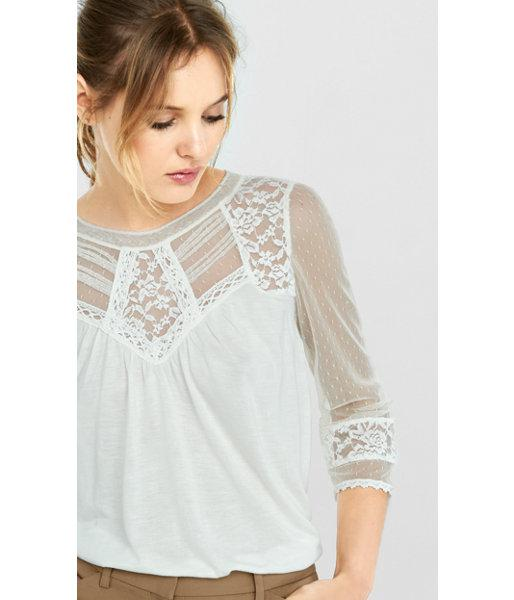 Express Women's Tops Crochet And Lace Topped Blouse
