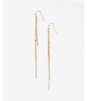 Express Stacked Rhinestone Linear Drop Earrings