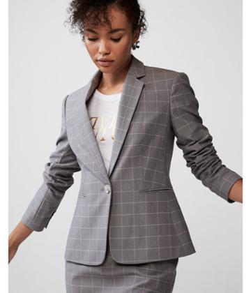 Express Womens Petite Windowpane Notch Collar Blazer
